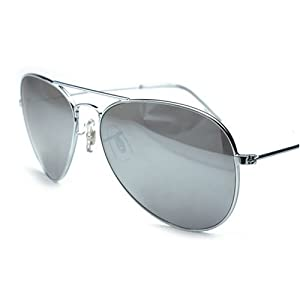 Mirrored Aviators Silver Metal Aviator Sunglasses (Silver)