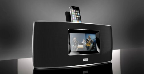 "Aura As100A Ipod/Iphone 50W Portable 30-Pin Docking Speaker With 7.0"" Touchscreen Black"