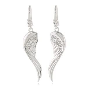 Rhodium Plated 925 Sterling Silver Cubic Zirconia CZ Diamond Accent Angel Wings Dangle Hook Earrings