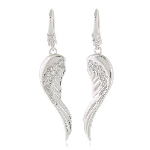 Rhodium Plated 925 Sterling Silver Cubic Zirconia Accent Angel Wings Dangle Hook Earrings 5 cm Jewelry for Women - Nickel Free