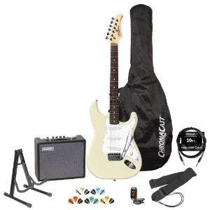 Silvertone Revolver Ss15 White Electric Guitar W/ Stand, Strap, Tuner, Strings, 10W Amp, 10' Cable, Picks & Guitar Bag