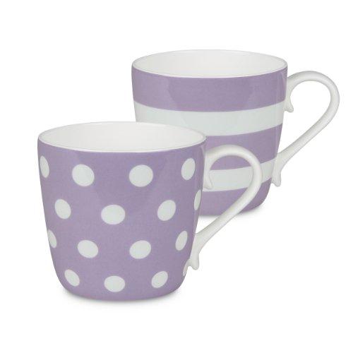 Konitz Lilac Dots And Stripes Mugs, Set Of 2