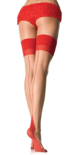 Sheer Contrast Top, Backseam And Cuban Heel Stockings, One Size (8 to 14)