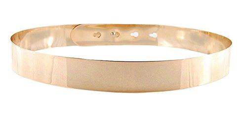 Kobwa(TM) Gold Mirror Metal Decor Stud Button Wide Slim Woman Shiny Waist Belt with Kobwa