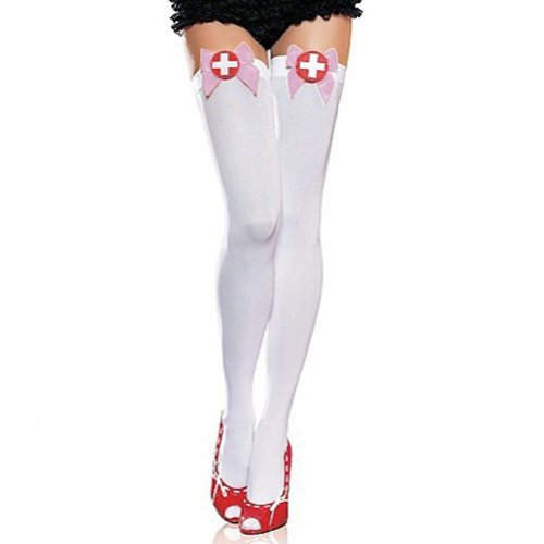 Muka Naughty Nurse Opaque White Thigh High Stockings With Top Pink Satin Bow