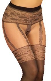 Faux stockings and suspender design tights. One Size UK 6-14.