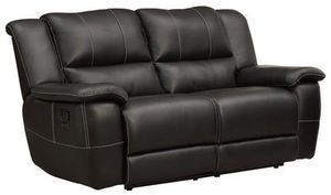 Bonded Leather Reclining Loveseat in Black by Homelegance
