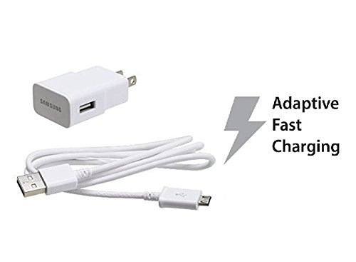 Samsung Fast Charging Adapter Travel Charger with 5-foot Micro USB Data Charge Sync Cable for Galaxy S7 S7 Edge S6 S6 Edge S4 S3 Note 4 Note 2