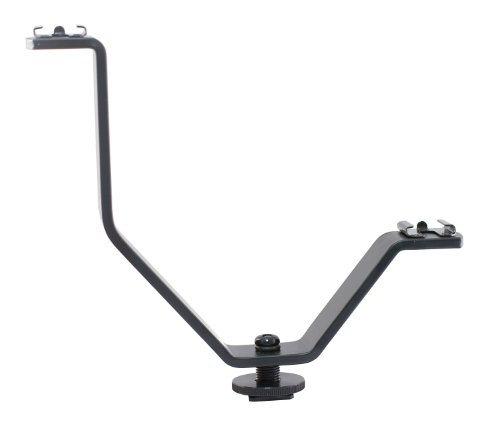 Polaroid V - Shaped Dual Camera & Camcorder Bracket With 2 Standard Shoe Mounts (Attach At Same Time Microphones, Lights, Flash, Monitors Etc) For The Nikon 1 J1, J2, J3, V1, V2, V3, S1, D40, D40X, D50, D60, D70, D80, D90, D100, D200, D300, D3, D3S, D700,