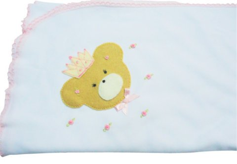 BLANKET NEWBORN PIMA COTTON PERU WHITE picot PINK