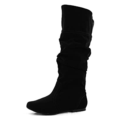 Women's Mid Calf Velvet Knee High Slouch Flat Cowboy Riding Boots Fashion Shoes,5.5 B(M) US,Black Velvet