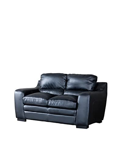 Baxton Studio Diplomat Modern Leather Loveseat, Black