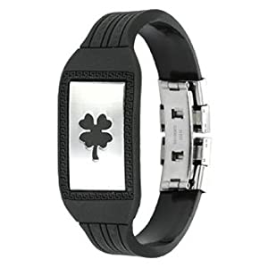 Spikes 316L Stainless Steel Lucky Charm Clover Plate Maze patterned Rubber Bracelet