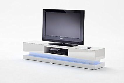 TV-lowboard, TV-Board, TV-Tisch Step, hochglanz weiss mit Schubkasten