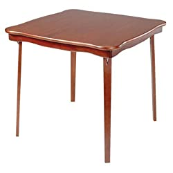 "Scalloped All Wood Folding Table, 29""Hx32""SQ, CHERRY"