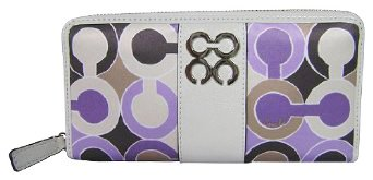 Coach Julia Signature Op Art Scarf Print Zip Around Wallet Lilac