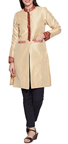 Womens Fashion Clothing Faux Silk - 100% Polyester Long Jacket ,Cream,W-FLJ46-2311,Size-46 Inch