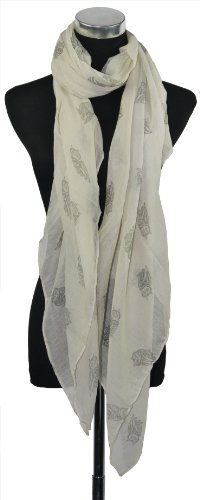 Large Cream with Grey Owl Print Chiffon Scarf or Sarong