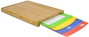 Casabella Chop'n Prep Bamboo Cutting Board Set with 4 Silicone Cut Boards, Assorted Colors