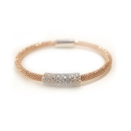 Sterling silver hallmarked mesh bracelet with statement white cz sparkle in a rose gold finish
