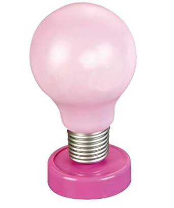 light bulb night lamp pink bedside table push light battery powered. Black Bedroom Furniture Sets. Home Design Ideas