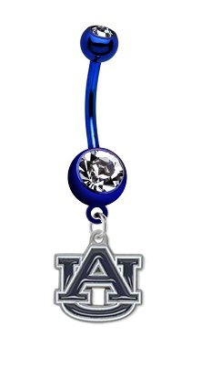 Auburn Tigers PREMIUM Blue Titanium Anodized Sexy Belly Button Navel Ring at Amazon.com