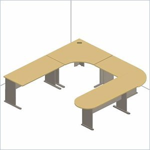 Series A 5-Piece U-Shape Desk Set in Natural Cherry