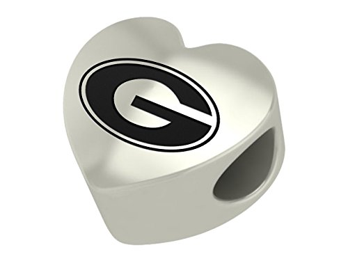 Georgia Bulldogs Sterling Silver Heart Bead Fits Most European Style Bracelets