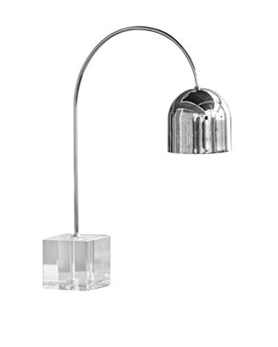 Home Philosophy Crystal Base Dome 1-Light Task Lamp, Crystal/Nickel