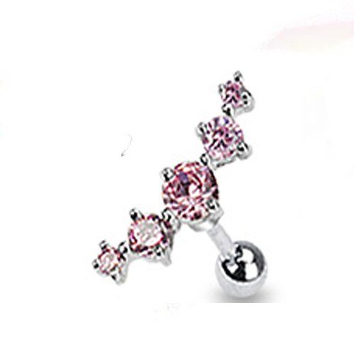 "1 - Stainless Steel Journey Curve 5 Pink Gems Cz Tragus Cartilage Piercing Earring Stud 16 Gauge 1/4"" A72"