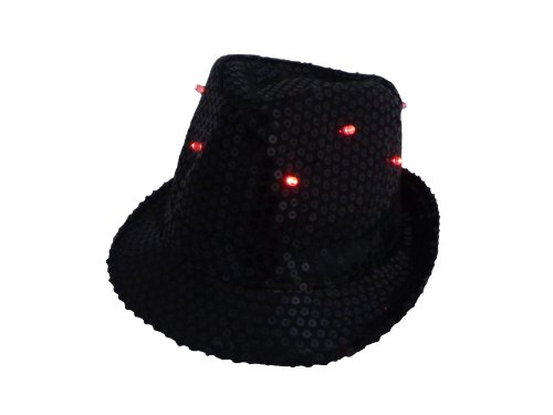 WeGlow International Light Up Sequin Fedora Hat, Black - 1