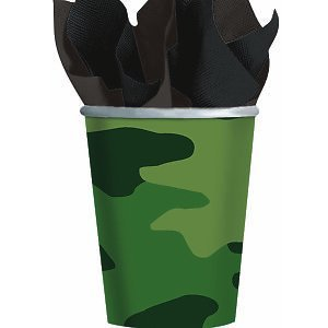 Amscan Adventurous Camouflage Cups Birthday Party Supplies, 9 oz, Camouflage Green