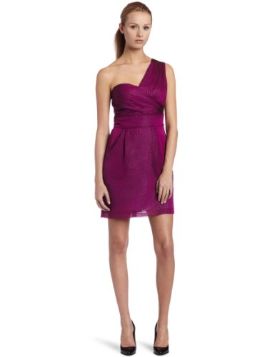 BCBGeneration Women's 1 Shoulder Pleat Dress, Fuchsia Berry, 0
