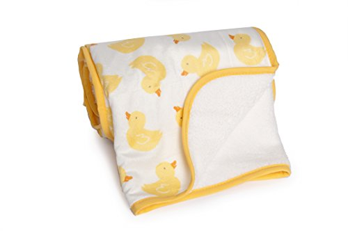 Carter's Velour Sherpa Blanket, Neutral Yellow Duck - 1