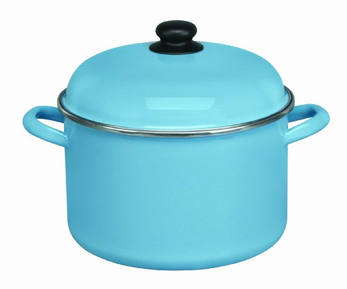 Cinsa 312071 Trend Ware Enamel on Steel Stock Pot with Lid, 7-Quart, Arctic Blue