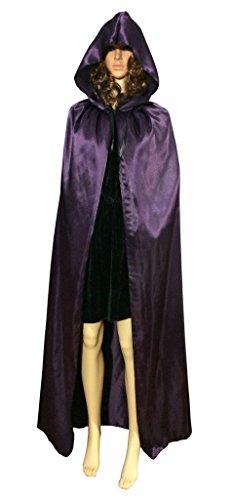 Seasofbeauty Halloween Hooded Cape MEDIEVAL Wedding Cloak Coat Shawl Purple L (Adult Purple Hooded Robe Costume)