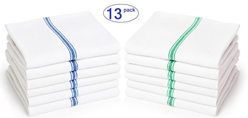 Liliane Collection Kitchen Dish Towels (13 Units In Blue And Green) - Commercial Grade Absorbent 100% Cotton Kitchen Towels - Classic Tea Towels (Blue And Green Variety Pack)