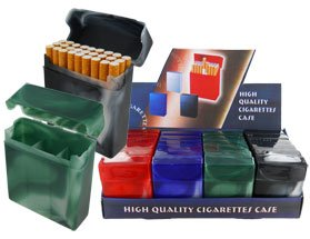 Flip Top Plastic Cigarette Case With Two Dividers (Box of 24) (For King Size Only) DIS-6155