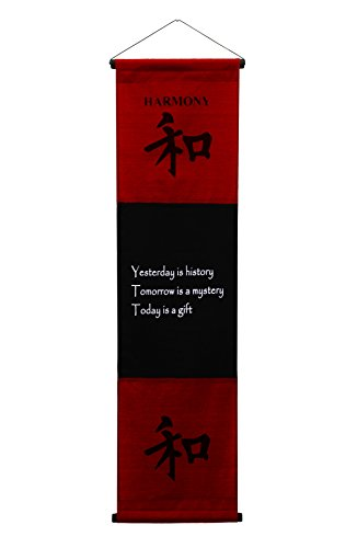 Large Cotton Scroll Inspirational Quotes Wall Hangings Harmony Wall Decor Art Affirmation Motivational Banner (Red Burgundy) (Top Wedding Registry Items compare prices)