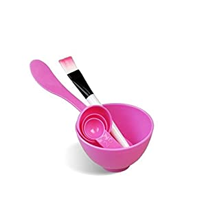 GBSTORE 4 In 1 Facial DIY Skin Care Mask Mixing Bowl Stick Brush Gauge Spoon Set Pink