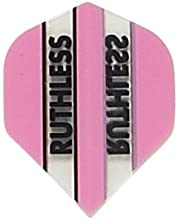5 Sets of 3 Dart Flights - 1708 - Ruthless Pink Clear Panels Double Thick Standard Flights