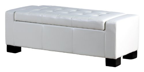 BEST Guernsey Leather Storage Ottoman, White