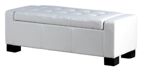 Best Buy BEST Guernsey Leather Storage Ottoman White Sales