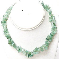 Aventurine 37 Inch Gemstone Necklace with Twist Bead Clasp with Free Matching Earrings