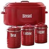 Typhoon Vintage Red Bread Bin & FREE Storage Set