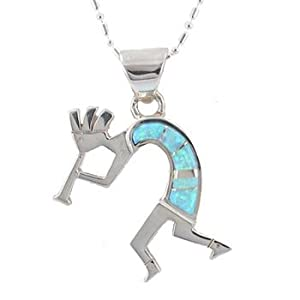 "Southwestern Blue Opal Gemstone Inlaid Kokopelli Pendant in Sterling Silver by Native American Indian Artist on 18"" Sterling Bead/Bar Chain, #7689"