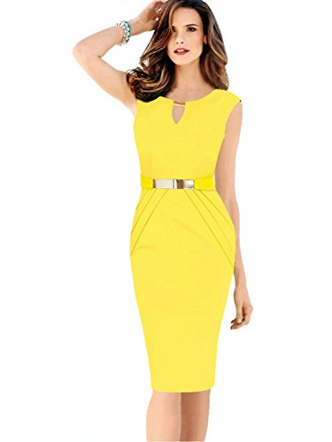 Women Sleeveless Gold Belt Decor Bridesmaid Midi Cocktail Party Dress,Yellow,XL