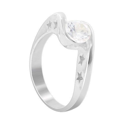 Solitaire Clear Cubic Zirconia Promise Polished Finish Band Ring Size 6
