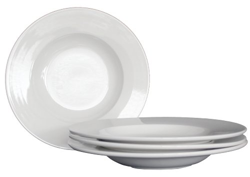 """Restaurant Quality White Ivory Ceramic Pasta Bowls - Set Of 4 - 12"""" - Microwave And Dishwasher Safe - Commercial Grade"""