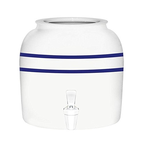 For Your Water Porcelain Water Crock Dispenser - Double Blue Line with 21 oz Water Bottle (Ceramic Drink Dispenser compare prices)
